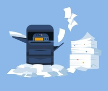Printer With Scanner And Paper Pile Office Printing Device
