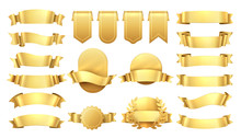 Golden Ribbons. Shiny Old Labels, Wave Banner Elements, Promotion Retro Decoration, Yellow Price Sale. Realistic Vector Gold Ribbon Set
