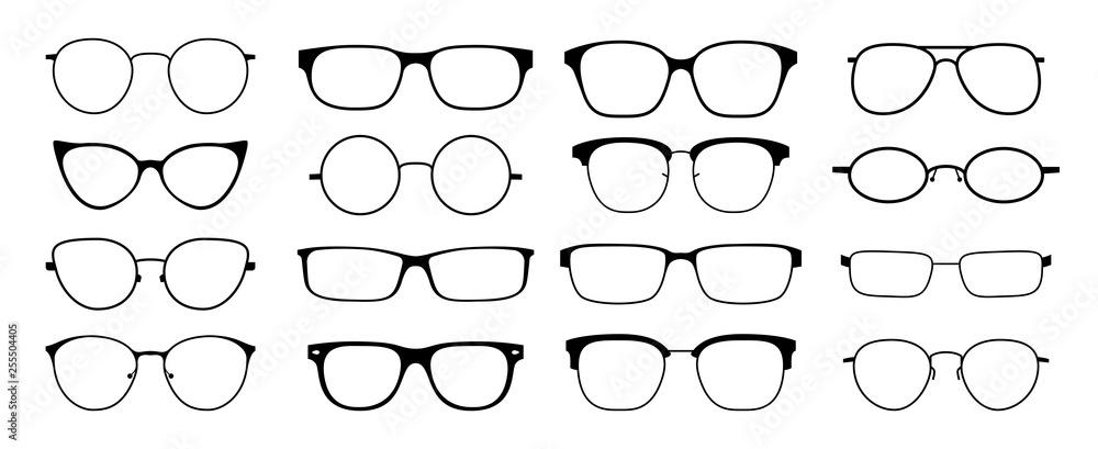 Fototapety, obrazy: Glasses silhouette. Sun glasses hipster frame set, fashion black plastic rims, round geek style retro nerd glasses. Vector sun glasses set