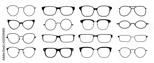 Glasses silhouette. Sun glasses hipster frame set, fashion black plastic rims, round geek style retro nerd glasses. Vector sun glasses set