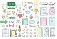 Journal Hand Drawn Elements. Doodle Bullets, Color Notebook Schedule Calendar Diary Line Scribble Elements. Vector Doodle Frames Set