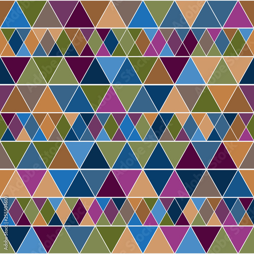 Fotografía  Pastel geometry endless pattern with colorful triangles.