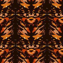 Abstract Safari Colors Vector Seamless Pattern. Brown And Orange Spots And Stripes On Black Background. Template For Design, Textile, Wallpaper, Wrapping, Carpet, Carton, Print, Banner, Ceramic Tile.