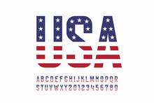 USA National Flag Style Font, ...