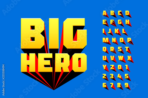 Comics style font design, superhero inspired alphabet, big hero, letters and numbers