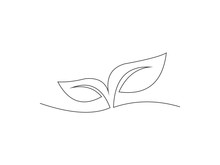Continuous Line Drawing Of Leaf Vector
