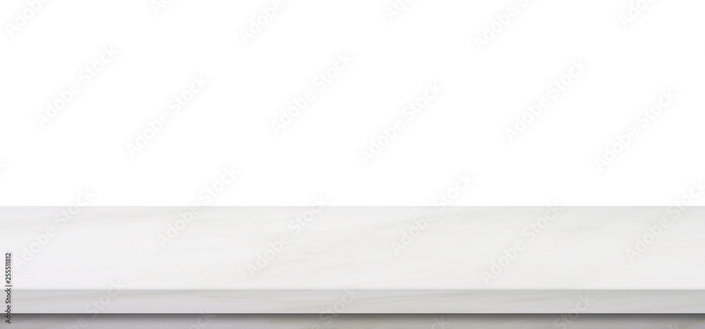Fototapeta Empty marble table, isolated on white background, banner, table top, shelf, counter design for product display montage