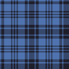 Seamless Plaid Pattern In Black And Blue Stripes. Vector