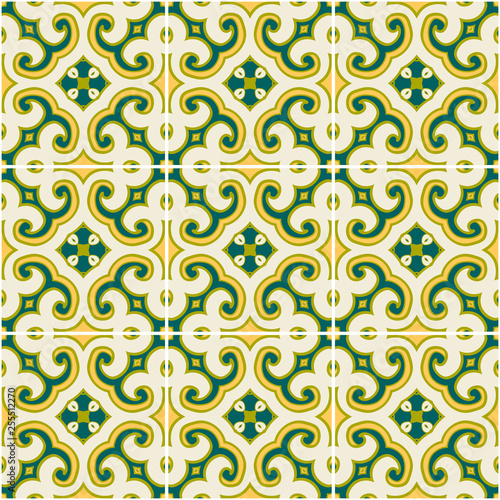 color ornate portuguese decorative tiles azulejos Fototapete