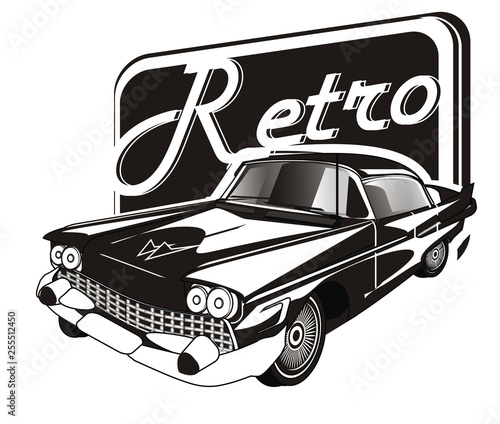 not colored retro car