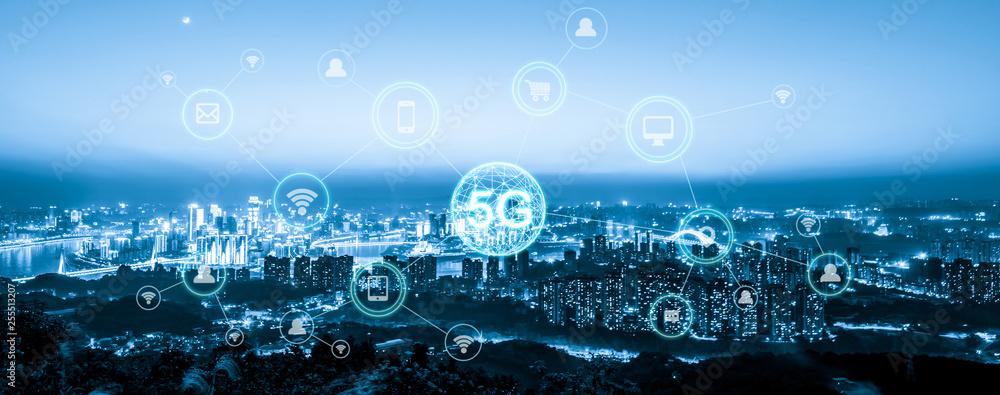 Fototapety, obrazy: Wireless communication network concept.Panorama of Modern City