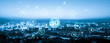 canvas print picture - Wireless communication network concept.Panorama of Modern City