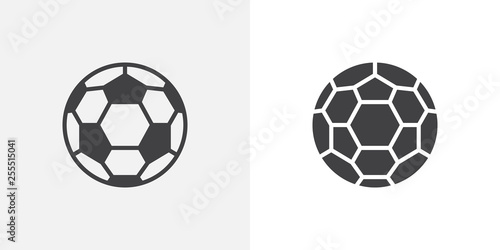 Fototapeta Soccer ball icon. line and glyph version, outline and filled vector sign. Football ball linear and full pictogram. Symbol, logo illustration. Different style icons set obraz