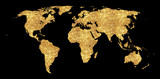 Golden world map concept illustration, gold planet geography icon made of golden glitter dust on black background. - 255517263