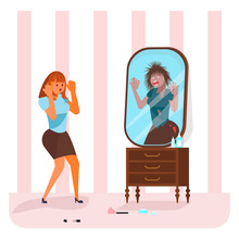 Young Woman Saw A Monster In The Mirror