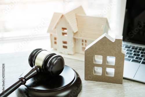 Judge gavel / house model, Ideas for foreclosure in real estate auction and bidding home Wallpaper Mural