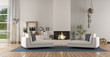 canvas print picture White modern living room with fireplace