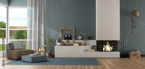 Fotografie, Obraz  Blue modern living room with fireplace