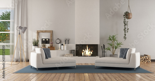 Fotografie, Obraz  White modern living room with fireplace