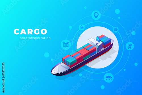 Isometric cargo ship container in the ocean transportation Fototapeta
