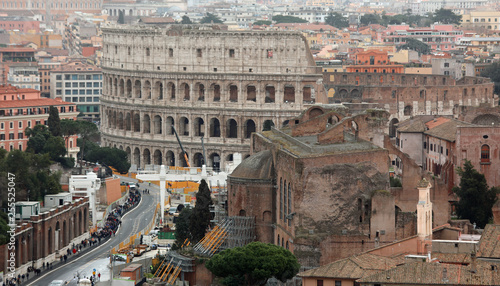 Fotografie, Obraz  colosseum and via dei Imperial Fora seen from above in Rome Ital