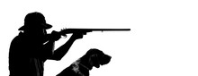 Silhouette Of A Hunter With A Gun And Dog Aiming At Prey. Isolated Image, Place For Your Advertisement.