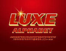 Vector Luxe Alphabet With Red And Golden Letters, Numbers And Symbols. Chic 3D Font