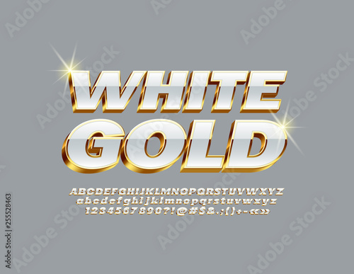 Valokuvatapetti Vector White and Gold Alphabet Letters, Numbers and Symbols