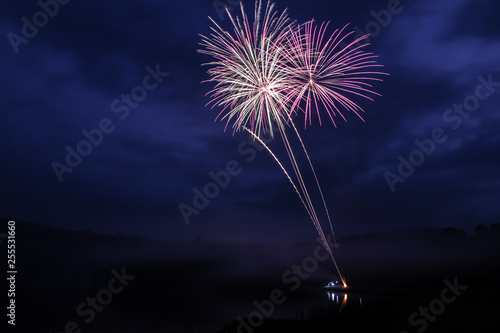 purple fireworks over a lake at night with blue background Wallpaper Mural