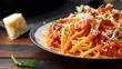 Leinwandbild Motiv Spaghetti alla Amatriciana with pancetta bacon, tomatoes and pecorino cheese