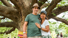 Husband And Wife Under The Thai Monkeypod Tree
