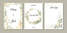 Set Of Cards With Green And Gold Leaves. Decorative Invitation To The Holiday. Wedding, Birthday. Universal Card. Template For Text.  Vector Illustration.