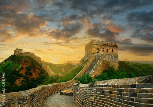 Fototapeta Sunset on the great wall of China,Jinshanling