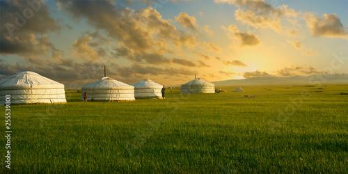 Türaufkleber Beige sunset on a yurt , in the grassland of Mongolia