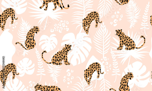 fototapeta na drzwi i meble Trendy seamless exotic pattern. Composition with abstract silhouettes of leopards, tropical leaves and textures. Vector illustration for textile, postcard, wrapping paper, background, and packaging.