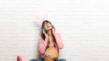 Woman With Bunny Ears For East...