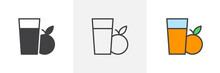 Orange Juice Glass Icon. Line, Glyph And Filled Outline Colorful Version, Fresh Fruit Juice Glass Outline And Filled Vector Sign. Symbol, Logo Illustration. Different Style Icons Set. Vector Graphics