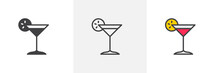 Margarita Cocktail Icon. Line,...