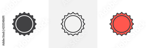 Beer bottle cap icon. Line, glyph and filled outline colorful version, beer cap outline and filled vector sign. Bar symbol, logo illustration. Different style icons set. Vector graphics © alekseyvanin