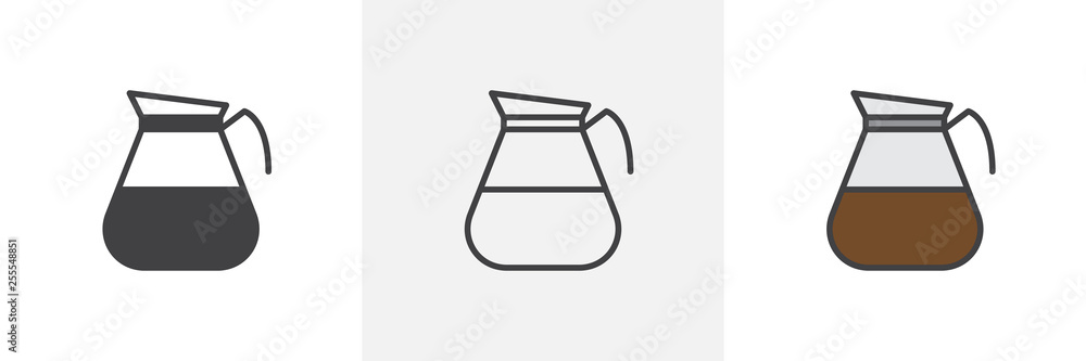 Fototapety, obrazy: Coffee pot icon. Line, glyph and filled outline colorful version, Pitcher coffee jug, outline and filled vector sign. Breakfast symbol, logo illustration. Different style icons set. Vector graphics
