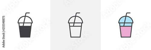 Fototapeta Milkshake drink icon. Line, glyph and filled outline colorful version, Milkshake with straw outline and filled vector sign. Symbol, logo illustration. Different style icons set. Vector graphics obraz