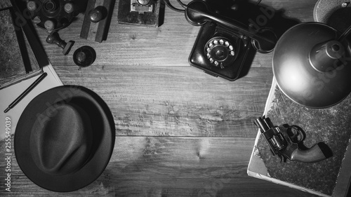 Fototapeta  Noir 1950s style detective desktop with revolver