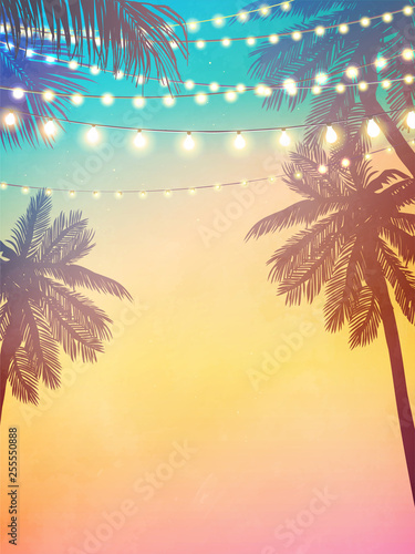 Obraz Decorative holiday lights. Background in beach style - fototapety do salonu