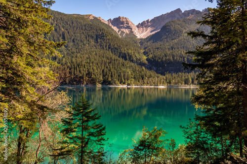 Beautiful view of Lake Tovel, the largest of all natural lakes in Trentino in the Adamello Brenta Park Fototapet