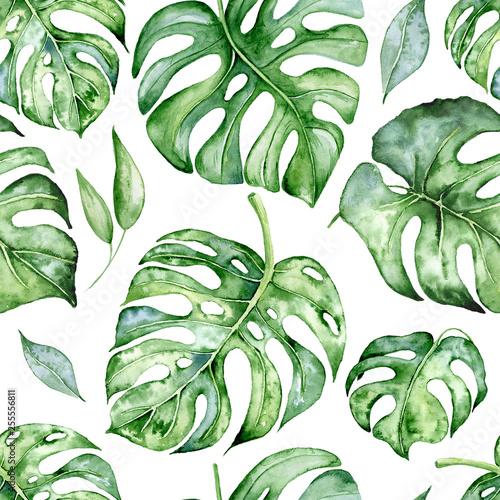 tropikalnej-akwareli-bezszwowy-wzor-z-zielenia-opuszcza-ilustracje