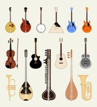 Vector Set Beautiful Musical Instruments. Isolated On Light Background