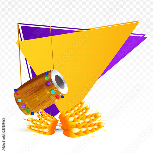 Decorative banner of punjabi festival, drum and wheat on triangle