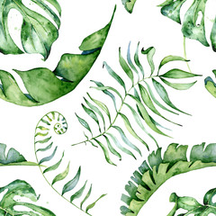 Fototapeta Do sypialni Tropical watercolor seamless pattern with green leaves illustration