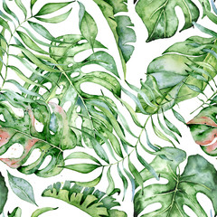 Fototapeta Do pokoju Tropical watercolor seamless pattern with green leaves illustration