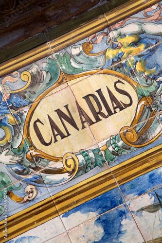 Fotografia  Canarias - Canary Islands Sign; Plaza de Espana Square; Seville